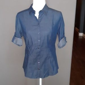 New York and Co Blue Jean Button Down Shirt